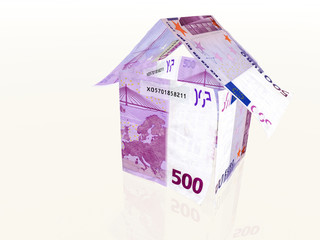 3d house made from 500 euro banknotes