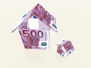 3d houses made from 500 euro banknotes
