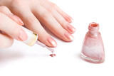 Woman hand with nail varnish poster