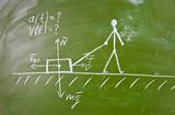 Physical problem sketch on school blackboard poster