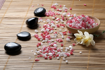 Zen aromatherapy salt and flowers