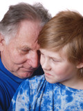 grandfather with boy close-up poster