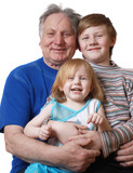 grandfather  with girl and boy poster