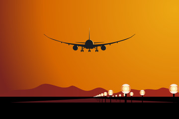 Vector aircraft landing at sunset