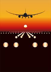 """Vector 787 """"Dreamliner"""" landing at sunset"""