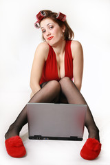 Girl with laptop. Late Night Chat.
