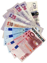 Euros Pounds money banknotes