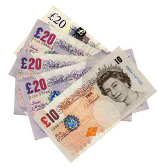 Ten Twenty pounds pound banknotes