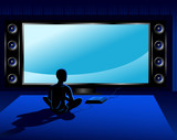 Boy playing coumputer game console in front of tv set poster