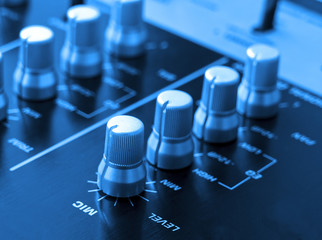 Audio mixer console with blue tone