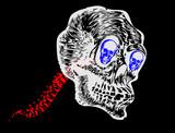 White skull and red spine poster