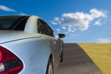 Silver sports car driving fast on the highway - Fine Art prints
