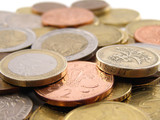 Euro and Pound coins - Euros Pounds Money