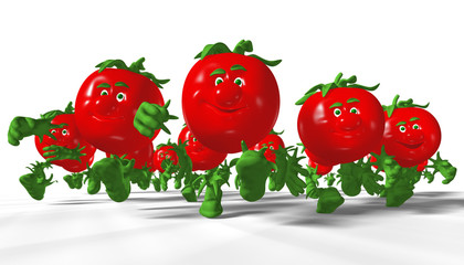 Group of running tomatoes. 3D render.