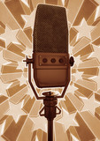 A grungy illustration of an old fashioned microphone.