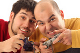 Two young men playing video game console controller poster