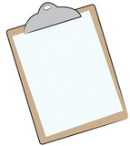 clipboard with graph paper attached  poster