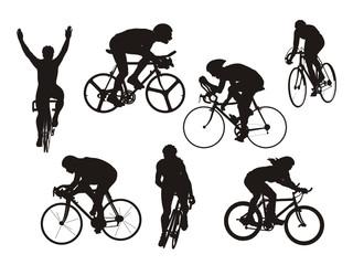 slhueta de ciclistas