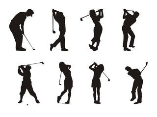 silhueta de atletas de golfe