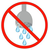 no showering or using water allowed - conservation  poster
