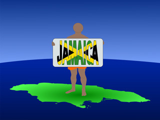 man on map of Jamaica with sign