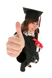 Female graduate showing a thumb up sign