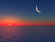 Sunrise over Sea with Moon