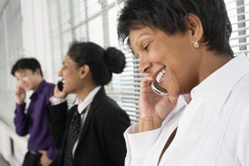 Business executives using Cellphones.