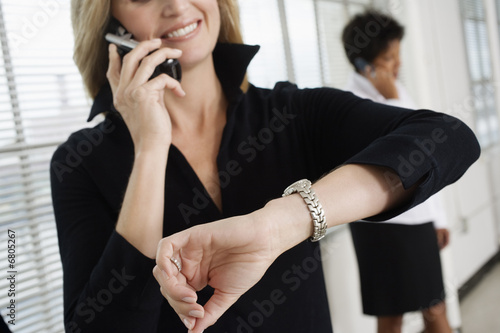 Business women using Cellphones.