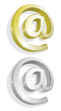 Vector illustration of two gold and silver e-mails poster
