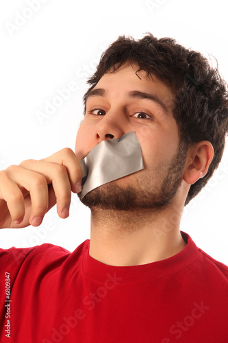 guys with adhesive tape on lips