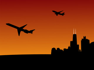 planes leaving Chicago at sunset