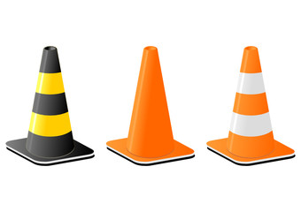 Traffic cones for safety signalization over white background