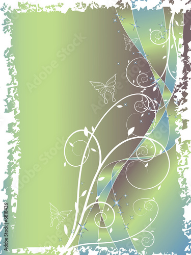 abstract floral swirl glitter blue green background