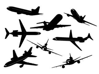 silhueta aviões comerciais
