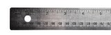 Aluminium ruler on a white background