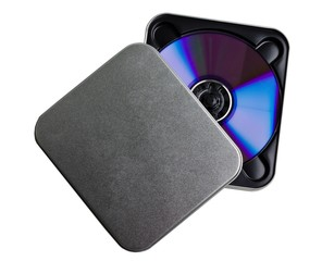 CD DVD metal case on a white background