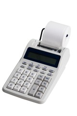 Electronic printing calculator on a white background