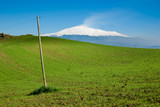 a green meadow on background of volcano Etna poster
