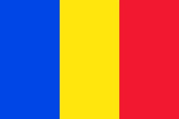 blue yellow anr red flag of romania with official proportion