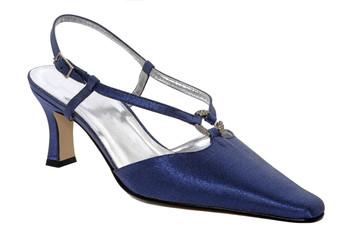 Blue shiny woman shoes