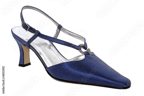 Blue shiny woman shoes