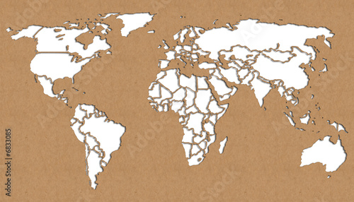 World map cut out of craft paper
