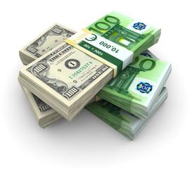 Stack of 100 Eurodollar abstract bills