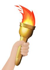 Main avec la torche olympique (détouré)