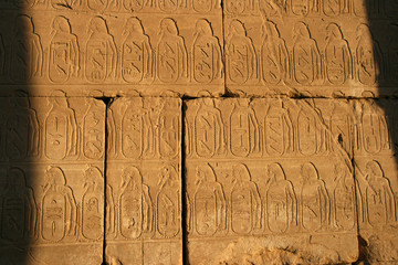 Hieroglyphics at temple of Karnak.