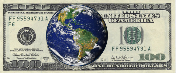 Picture of earth inside a one hundred dollar bill 1