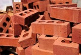 A stack of bricks at a construction site.