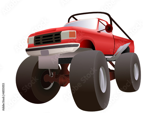 Foto op Canvas Cartoon cars vector red monster truck 4x4
