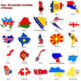 Non - EU countries flag maps poster